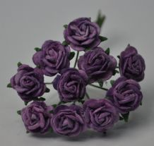 1 cm DARK LILAC VIOLET Mulberry Paper Roses